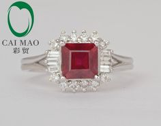 popular 14kt white gold 2.56ct red ruby