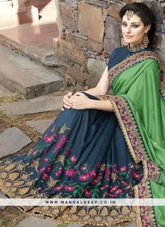 Pleasance Blue and Green Embroidered Work Fancy Fabric Half N Half Saree