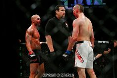Lawler & MacDonald stare at each other after round ends in ufc 189