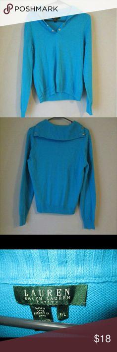 Ralph Lauren Beautiful blue color. Petite size. No stains or tears. Ralph Lauren Sweaters