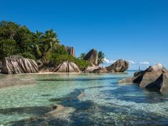 Situated kilometers off the coast of Tanzania, the Seychelles is famous for its awe-inspiring collection of tropical beaches, including Anse Source D'Argent, regularly named as one of the world's best beaches. Exotic Beaches, Tropical Beaches, Bora Bora, Costa Rica, Seychelles Resorts, Best Beaches To Visit, Hidden Beach, Sand And Water, Beaches In The World
