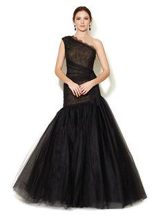 Lace Bodice One Shoulder Gown by Monique Lhuillier at Gilt