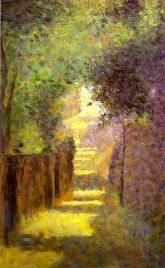 """Sainte-Vincent Street, Montmarte, Spring"" by Georges Seurat https://www.artexperiencenyc.com/social_login/?utm_source=pinterest_medium=pins_content=pinterest_pins_campaign=pinterest_initial"