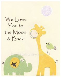 Baby Room Decor, Nursery Art, we love you to the moon, yellow and green, baby giraffe, baby room print