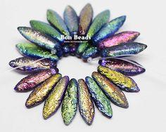 5x16mm Magic Orchid Etched Daggers @ www.bonbeads.com
