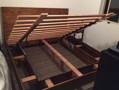 Custom, made to order, Bed Frame with under bed storage!  Prices vary based on specifications. (Size, wood type, etc.)  Hand made in Seattle, WA!  King size bed shown. Approximate dimensions are: Length: 85 Width: 78 Height: 47  Bed Frame shown is made from red oak with a floating frame. Gas pistons are used for easy lift to access under bed storage.  Extremely sturdy and squeak free!  Local pick up for Seattle , WA and surrounding areas. In home set up available for Seattle customers.