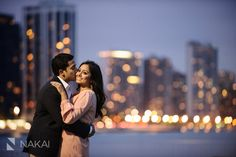 Chicago Engagement Pictures at night! Olive Park + Chicago Skyline! Creative engagement photos!  Lake Michigan. Chicago Engagement Photographer - Nakai Photography http://www.nakaiphotography.com
