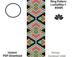 peyote ring pattern pdf,pdf-download,instant download,ring #445R,2 variants,beading pattern, DIY,beading tutorial,pdf ring,pdf file,