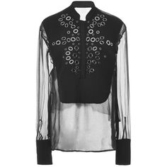 Antonio Berardi Grommet Embellished Silk Blouse ($1,465) ❤ liked on Polyvore featuring tops, blouses, black long sleeve blouse, black top, grommet top, embellished tops and silk blouses
