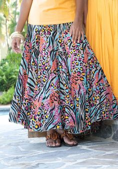 Universally flattering plus size maxi skirt in flowing crinkled cotton voile, by Jessica London. $74.99 #fashion #summer