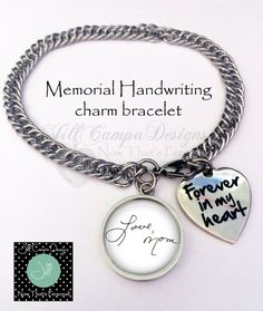 Handwriting Bracelet, handwriting charm bracelet, Handwriting Jewelry, Loved Ones Handwriting Jewelry, memorial, forever in my heart