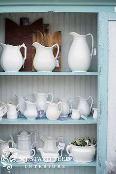 Miss Mustard Seed. Can't wait to check in with her at Lucketts! Ironstone - Miss Mustard Seed's booth at the Lucketts Spring Market White Dishes, White Pitchers, Dish Display, China Display, Boutique Deco, Shabby, Miss Mustard Seeds, Pots, Milk Paint