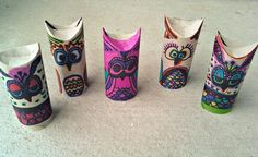 Owls from card tubes! Great KS1/KS2 craft for woodlands topic