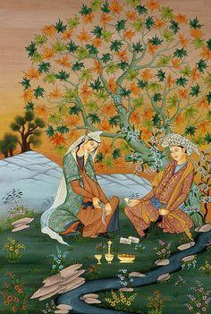 Persian Lovers under tree - miniature painting