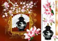 """A black enamelled oriental jar with lid, decorated with mother of pearl flowers, against a contrasting fan set in a gold ornate frame embellished with cherry blossoms. This fits an 8"""" x 8"""" card front and there are three tags, two blank, for your own peel offs or stamps."""