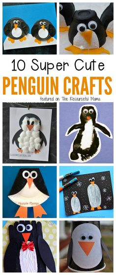 Kids will love making these penguin crafts make from paper rolls, craft sticks, cupcake liners, and more fun craft supplies. Winter Animal crafts for kids | Winter Crafts for Kids