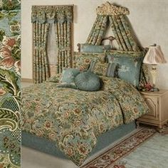 The Calais Comforter Bedding is beautifully embellished with lovely blossoms. Oversized, piped, polyester comforter features a woven Jacobean pattern. Duvet Cover Master Bedroom, Bed Decor, Bedding Inspiration, Comforter Sets, Bed, Simple Bed, Toddler Bed Set, Comforters, Teal Comforter