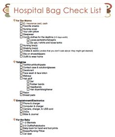 A Printable Hospital Bag Checklist
