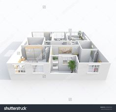 Illustrazione stock 439005934 a tema Interior Rendering Perspective View Furnished Interior Rendering, Perspective, 3 D, Entrance, Kitchen Living, Living Room, Royalty Free Stock Photos, Window, Bathroom