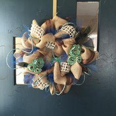 Peacock, Burlap, tulle, sparkles wreath  $50.00