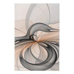 Abstract Anthracite Gray Sienna Shapes Fractal Art Faux Canvas Print - modern gifts cyo gift ideas personalize