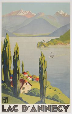 LAC D'ANNECY - ROGER BRODERS, VINTAGE TRAVEL POSTER