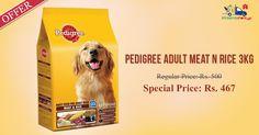 Pedigree Adult Dog Food Meat & Rice 3 Kg @ Discounted Price - Rs. 467 on Kiraanastore.