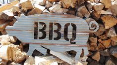Up-cycled old Corrugated Metal  BBQ Pig Wall Hanging Sign on Etsy, $39.00