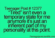 "This is totally me right now. ""How are you, Hannah?"" ""Tired."" ""How are you, Alina?"" ""Tired."" Story of our lives... Argh."