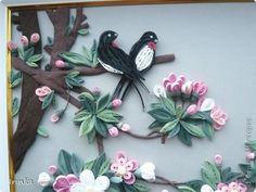 Картина панно рисунок Квиллинг Ветка сакуры Бумага фото 2