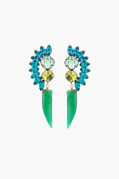 Bold green and turquoise statement earrings.