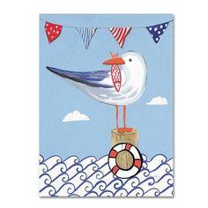 "Trademark Art 'Coastal Bird II on Blue' Print on Wrapped Canvas Size: 19"" H x 14"" W"