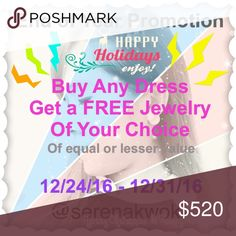 PROMO: Buy a Dress, get FREE Jewelry Thanks for checking out my end of year promotion. This is the details on this deal:  1. Find a Dress you Love ❤️ 2. Choose ANY Jewelry of your choice (can be Necklace, Earring or Bracelet, women/men) of equal or lesser value than the dress for FREE 3. Add both items to a bundle and offer me the price of just the dress   Thanks so much! Hope you find the perfect pair. Please ask any questions you have. Date of this promo: 12/24/16 - 12/31/16 🌸 Happy…