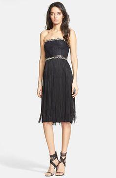 Tamara Mellon Fringe Skirt Mixed Media Dress available at #Nordstrom