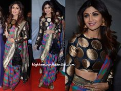 Shilpa chose to wear a sari at the Umang Police show picking a Manish Malhotra one from the designer's latest Benaras collection. My issue with this look is the drape. I know Shilpa was trying to showcase the blouse but the extremely angled tight folds was quite a put off. Bummer, because she looked so …