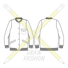 Bomber Jacket Technical Drawing, Vector available for download via. Etsy and Shutterstock.