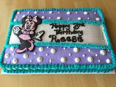 Minnie Mouse 1st Birthday Sheet Cake Ruffles Bows Dots