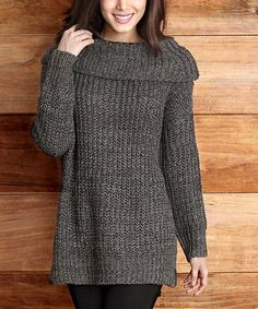 Look what I found on #zulily! Charcoal V-Stitch Cowl Neck Sweater #zulilyfinds