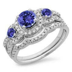 Share for $20 off your purchase of $100 or more! 1.40 Carat (ctw) 10K White Gold Round Tanzanite & White Diamond Ladies 3 Stone Halo Bridal Engagement Ring With Matching Band Set - Dazzling Rock #https://www.pinterest.com/dazzlingrock/