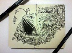 MOLESKINE DOODLES: Angry Angler by kerbyrosanes