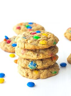 I have a new weakness - Monster M&M Peanut Butter Cookies. Have you had a  Monster Cookie before? They are lumpy, chewy and oh so irresistible. They  aren't so well known in Australia but they are an American delight. Filled  with rolled oats, chocolate chips, M&M's and peanut butter, there is so  much goodness in every single bite.  They have surpassed all my M&M cookie treats to go straight to the top as  my favourite cookie creation. Things will never be the same now I have  discovered…