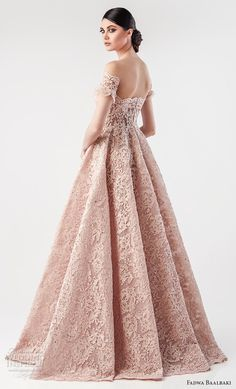 fadwa baalbaki spring 2018 couture off the shoulder curved neckline full embellishment romantic princess pink blush a line wedding dress sweep train (1) bv -- Fadwa Baalbaki Spring 2018 Couture Dresses | Wedding Inspirasi #wedding #weddings #bridal #weddingdress #bride ~