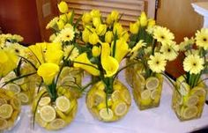 Lemon, baby's breath, and blue ribbons or table cloths?