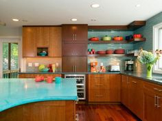 lovely kitchen with blue cabinets