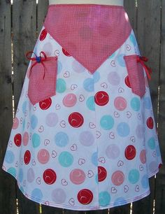 Hearts & Checks Apron with button and ribbon trim on pockets