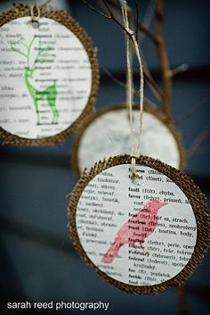 Vintage book pages, burlap and stamps.  Upcycled Ornaments on upcycleyourlife.com