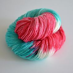 Hand Dyed Yarn - Worsted Superwash Single Ply Merino - 240 yards Worsted Weight - Red Sky in the Morning - Coral Red and Turquoise Blue by ToilandTrouble on Etsy https://www.etsy.com/listing/92963619/hand-dyed-yarn-worsted-superwash-single
