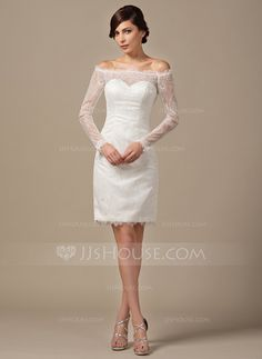 Sheath/Column Off-the-Shoulder Knee-Length Lace Wedding Dress With Beading Sequins (002064199)