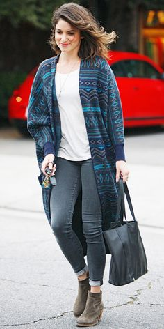 click to shop Nikki Reed's cozy chic outfit
