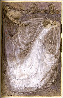 watercolor illustrations by Scottish painter Frances Macdonald McNair bound in a book in UB's Rare Books Collection.